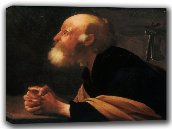 Brugghen, Hendrick Ter: The Repentant Peter. Fine Art Canvas. Sizes: A4/A3/A2/A1 (002163)